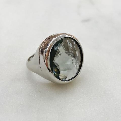 Кольцо Vi круг хрусталь серый