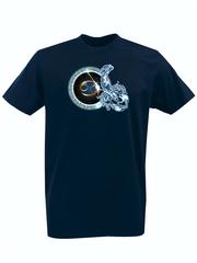 Футболка с принтом Знаки Зодиака, Рак (Гороскоп, horoscope) темно-синяя 004