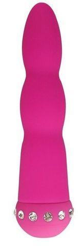 Розовый вибратор WAVY WAND со стразами - 14 см.