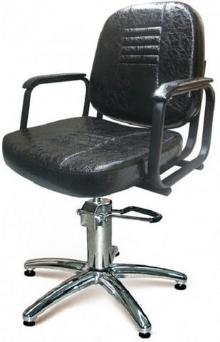 Парикмахерское кресло Бриз цвет черный матовый гидравлика хром, пятилучье хром на подпятникахх