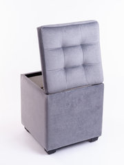 Пф-400-Я Пуфик квадратный (серый) с ящиком для хранения