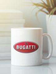 Кружка с эмблемой Bugatti (Бугатти) белая 002