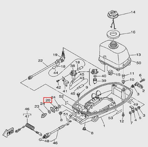 Корпус топливного крана  для лодочного мотора T5 Sea-PRO (7-20)