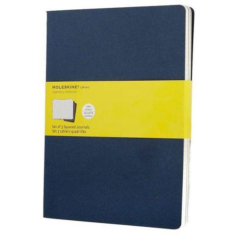 Блокнот Moleskine CAHIER JOURNAL CH222 XLarge 190х250мм обложка картон 120стр. клетка синий индиго (3шт)