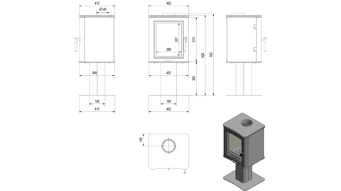 Печь-камин Kratki KOZA/K5/S/N (7 кВт) Под заказ