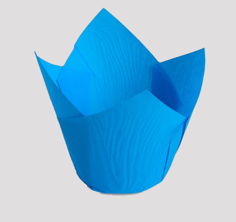 Форма бумажная для капкейков/кексов/маффинов голубая 6*8 h=8.5см, 10шт