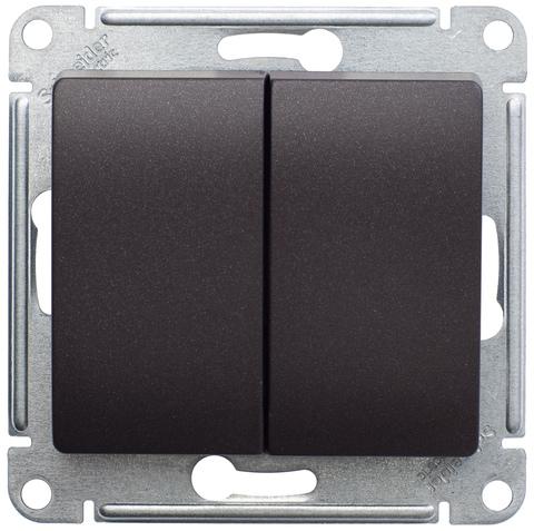 Выключатель двухклавишный, 10АХ. Цвет Шоколад. Schneider Electric Glossa. GSL000851
