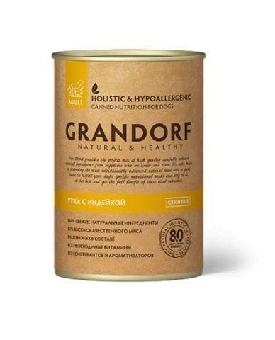 Grandorf консервы для собак утка и индейка 400г