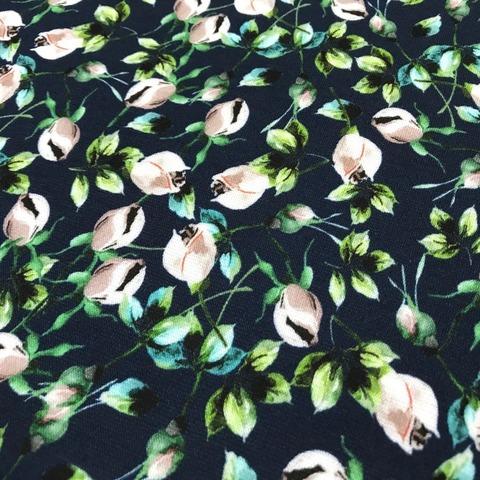 Ткань  трикотаж джерси  мелкие розы 3299