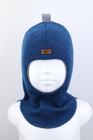 Шапка-шлем, синий 100% шерсть