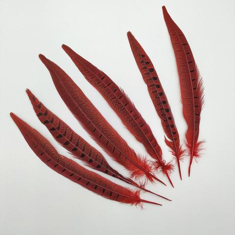 Перо фазана ,  длина 20-25 см. красный