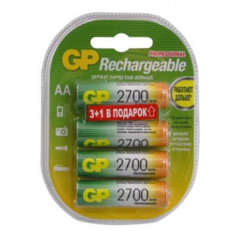 Аккумуляторные батарейки GP АА 4 штуки (2700 мАч, Ni-Mh)