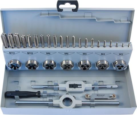 Набор метчиков трехпроходных ручных универсальных и плашек круглых ручных серий COMBO М3-М12, HSS-G, 32 предмета