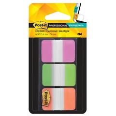 Клейкие закладки Post-it Professional пластиковые 3 цвета по 22 листа 25.4х38 мм в диспенсере