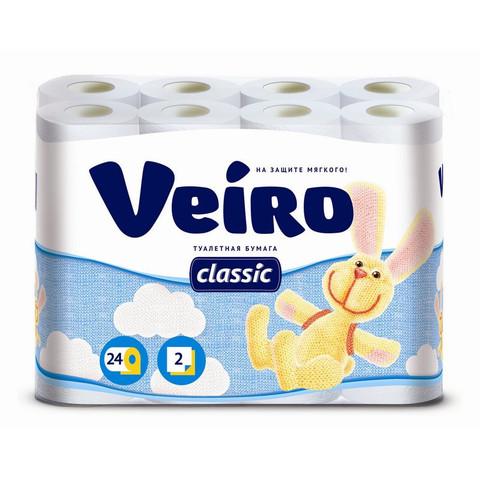 Бумага туалетная Veiro Classic 2-слойная белая (24 рулонов в упаковке)