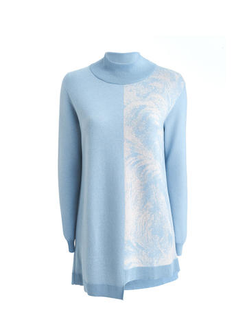 Женский свитер голубого цвета из кашемира и вискозы - фото 1