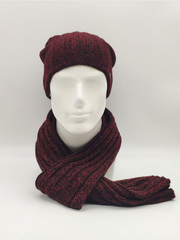 Мужской молодежный комплект шапка бини/ колпак и шарф, красно-черный меланж