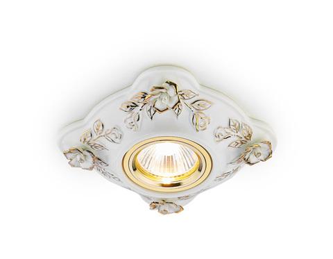 Встраиваемый потолочный точечный светильник D5504 W/GD белый золото керамика