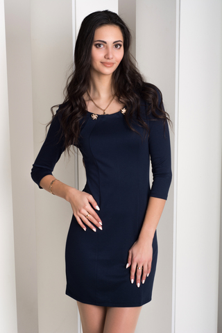 Рубина. Практичное молодежное платье. Синий