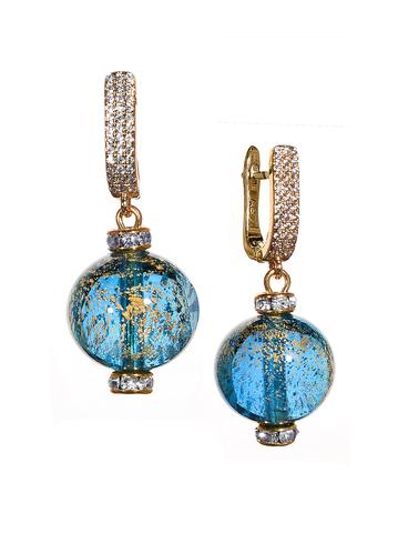 Серьги из муранского стекла со стразами Daniella Ca'D'oro Medio Blue Gold 036O