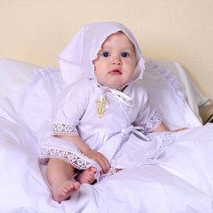 Папитто. Крестильный набор для девочки (платье, косынка, пеленка 85*85), белый
