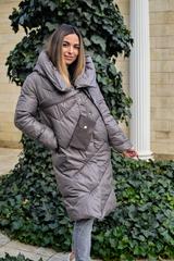 Дутая женская куртка длинная с капюшоном Nadya