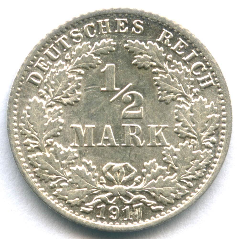 1/2 марки 1917 (A) Германия XF-AU