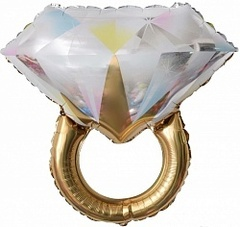 К Фигура, Кольцо с бриллиантом, Золото, 27''/69см.