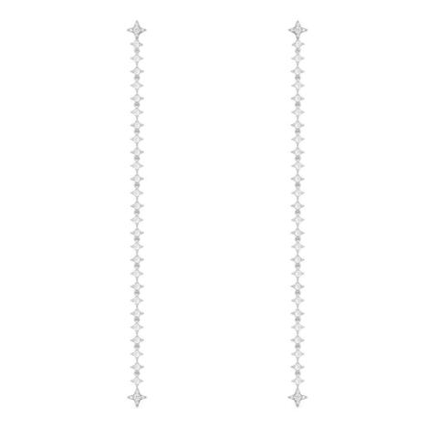 10294-Длинные серьги-трансформеры с цирконами из серебра в стиле APM MONACO