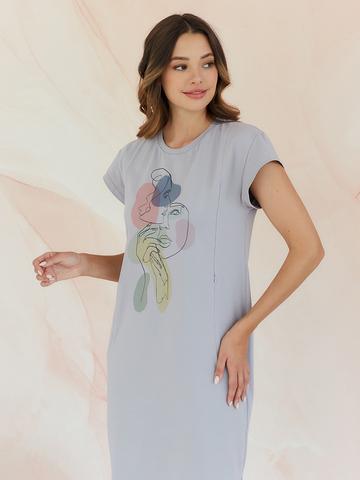Платье футболка дымка Принт