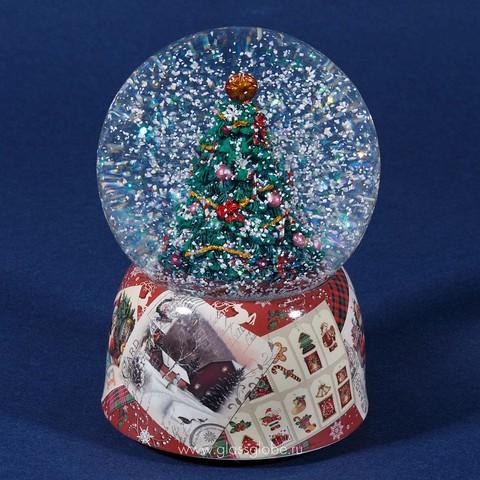 Стеклянный шар со снегом внутри Нарядная Ёлочка