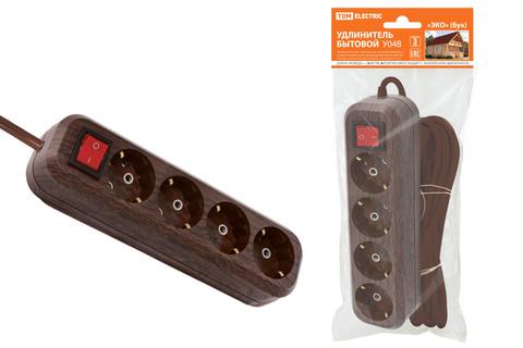 Удлинитель бытовой  У04В выключатель, 4 гнезда, 3метра,2П+3, ПВС 3х1мм2