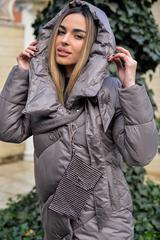 Дутая женская куртка длинная с капюшоном магазин