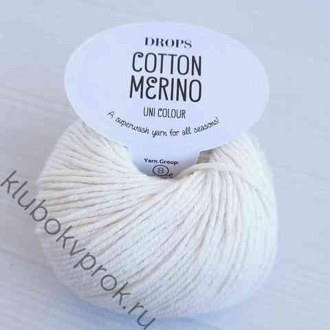 DROPS COTTON MERINO 01, Белый