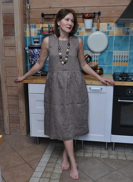Платье миди из льна свободное меланж какао
