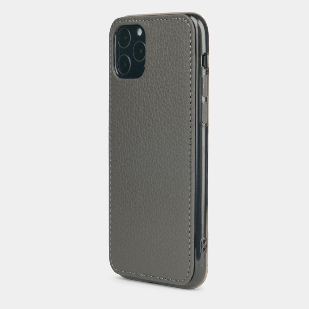 Чехол-накладка для iPhone 11 Pro из натуральной кожи теленка, серого цвета