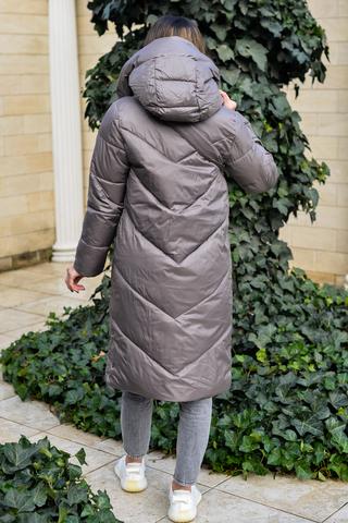 Дутая женская куртка длинная с капюшоном купить