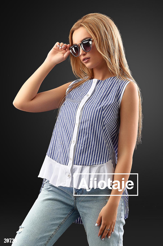 Рубашка в синюю с белой полоску