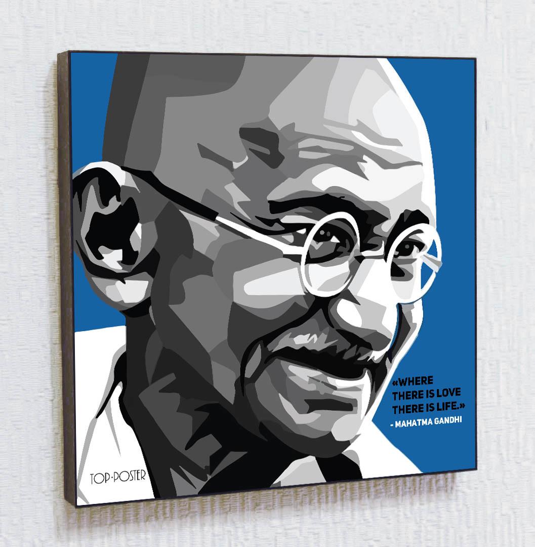 Махатма Ганди Картина ПОП-АРТ постер портрет