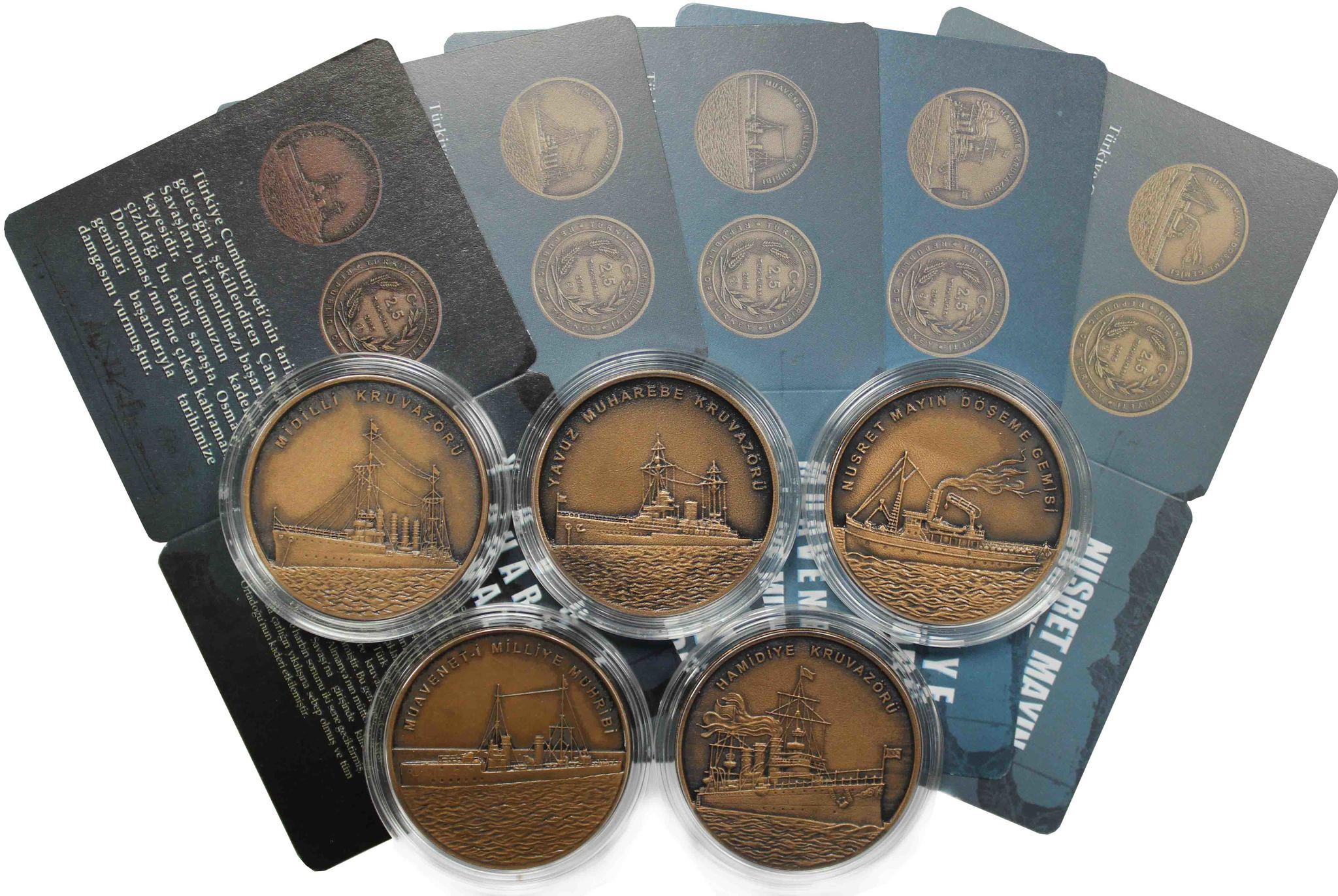 """""""Корабли Первой Мировой Войны"""" - набор из 5 монет 2,5 лира 2015 Турция"""