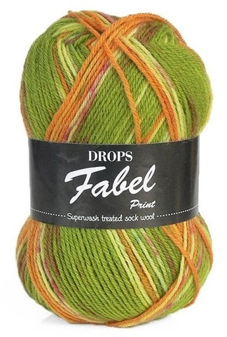 Пряжа Drops Fabel 151 зеленый-оранжевый-молочный