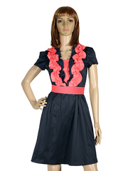 279 Платье женское, сине-розовое