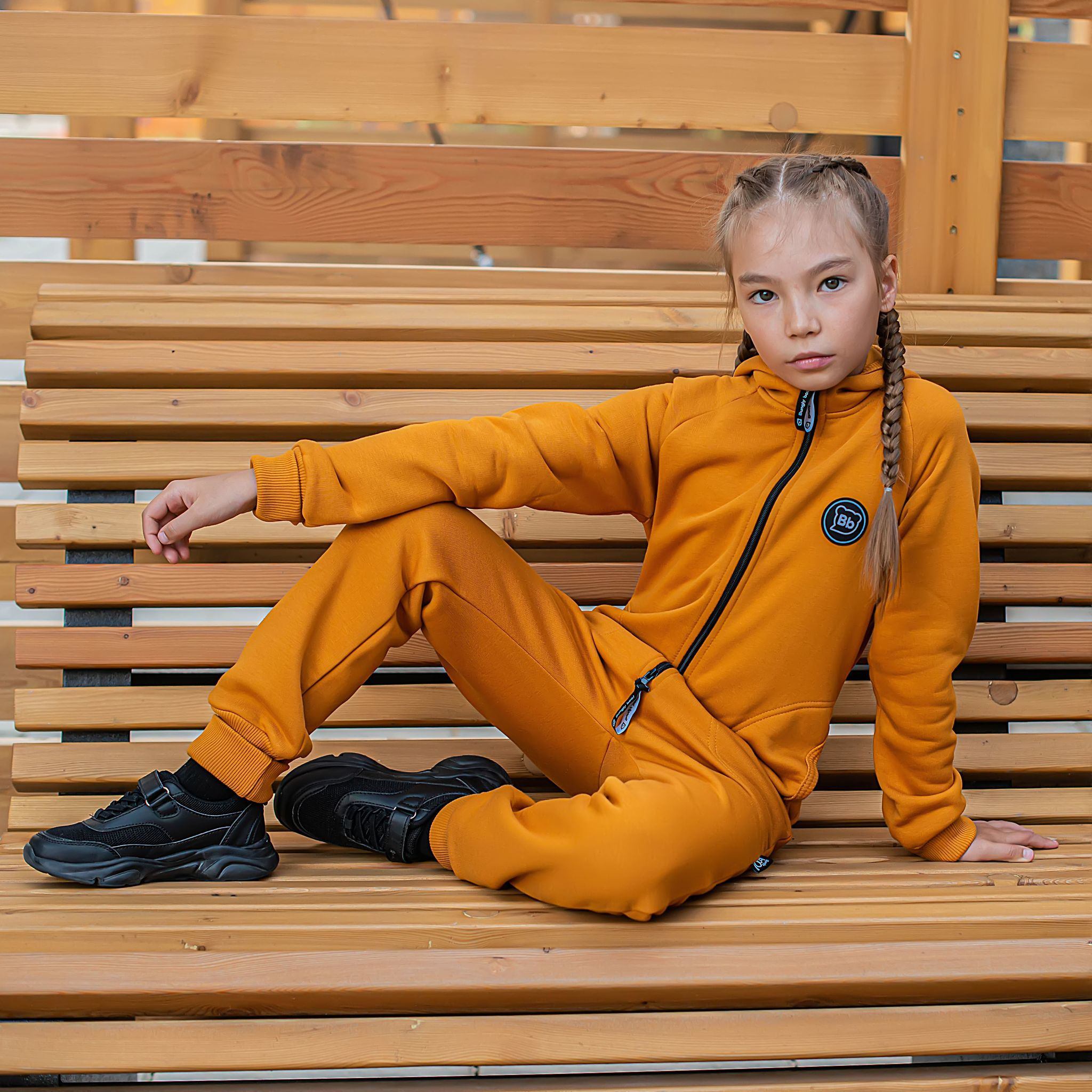 Warm hooded jumpsuit with pockets for teens - Amber Yellow