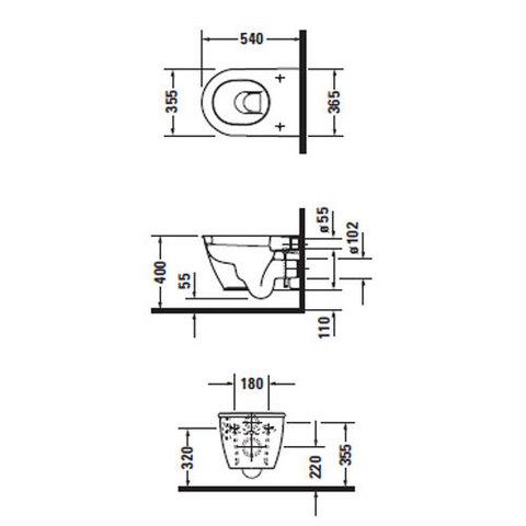 Унитаз подвесной с вертикальным смывом  Duravit Darling New    2545090000 схема