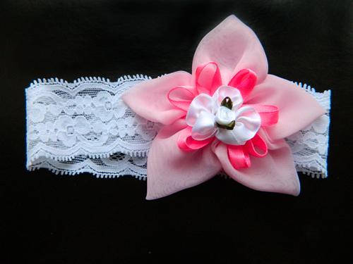 Повязка на голову с розовым цветком, 2901