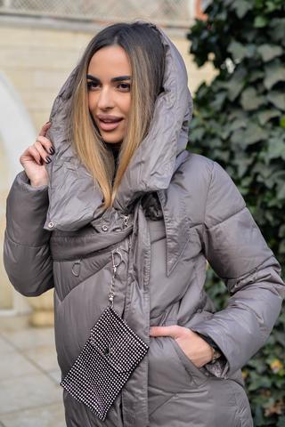 Дутая женская куртка длинная с капюшоном оптом