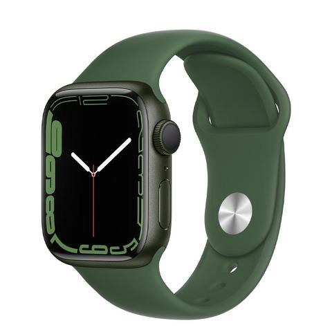 Apple Watch Series 7, GPS, 41 мм, корпус из алюминия зеленого цвета, спортивный ремешок «зелёный клевер»