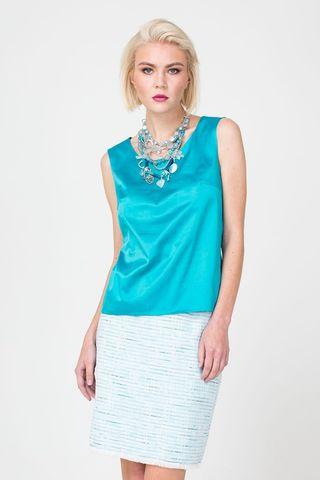 Фото голубая блуза без рукавов из блестящей ткани - Блуза Г676-122 (1)