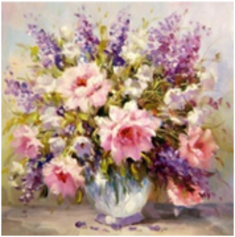 Картина раскраска по номерам 30x40 Розово-фиолетовый букет в вазе