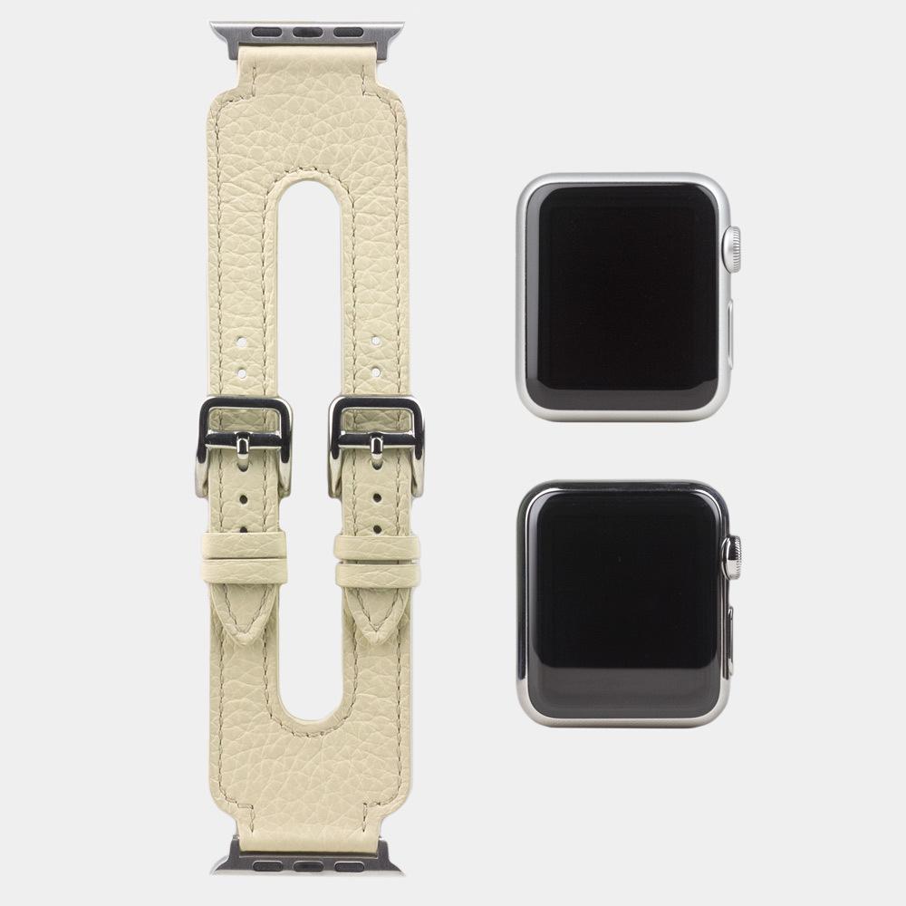 Ремешок для Apple Watch 42мм ST Double Buckle из натуральной кожи теленка, молочного цвета
